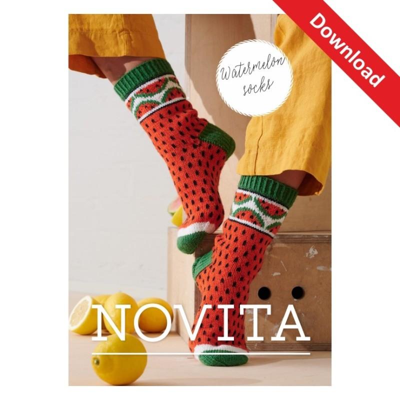 Wassermelonen-Socken aus Novita Muumitalo Download-Anleitung